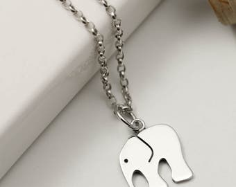Sterling Silver Elephant Necklace - Elephant Gifts - Jewellery Handmade - Animal Jewelry - Silver Jewellery - Animal Lover Gift