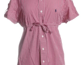 Vintage Ralph Lauren Upcycled Red & White Striped Shirt Dress 12 - www.brickvintage.com