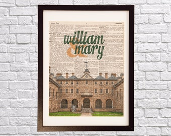 William & Mary Dictionary Art Print - Wren Building Art - College of William and Mary Print - Print on Vintage Dictionary Paper - Virginia