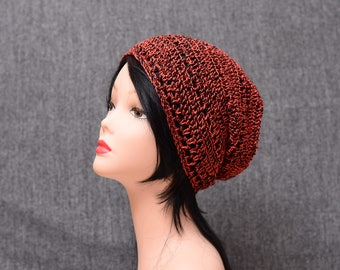 cotton slouchy hat crochet beanie fashion summer hat gift for him gift for her