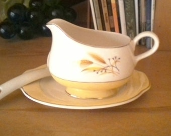 Vintage Homer Laughlin Co. Gravy Boat with Underplate (Relish) and Ladle  in Autumn Gold by Century Service Yellow Gold Wheat Pattern 1950's