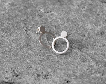 Ear jacket, Simple circle post earrings, circle stud earrings, sterling silver earrings