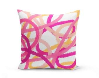 Throw Pillow Cover, Cushion Cover, Abstract Art, Pink Fuchsia Orange Peach (A16) Decorative Pillow Cover Euro Sham Cover