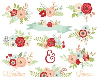"""Wedding Floral Clipart  """" FLORAL CLIPART """" Flowers Clipart. Floral Posies Clip Art. Wedding Clipart. Wedding Invitations. Commercial Use."""