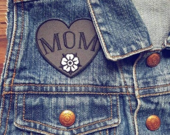 Mom Embroidered 2.25 Iron On Black and Gray Tattoo Mom Patch