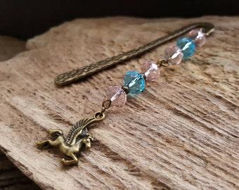 Pink & Blue Crystal Bookmark, Bronze Pegasus Bookmark, Beaded Fantasy Book Charm