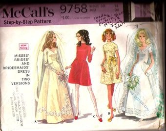 Vintage 1960s Brides and Bridesmaid Dress in Short and Long Vintage Pattern / McCalls 9758 / Size 14 Bust 36 / Wedding Dress Pattern