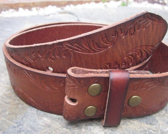 "Small  & Medium brown leather belt strap 1.5""  Full grain Leather snap Belt  brown floral embossed  leather belt"
