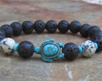lava stone bracelet turquoise turtle bracelet mens beaded bracelet women's bohemian bracelet black & white stretch bracelet oil diffuser