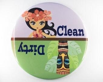 Hawaiian themed dishwasher magnet, cute magnet, clean/dirty magnets. Hawaiian themed magnet,tiki magnet,hula girl,