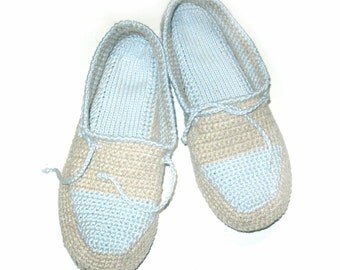 Light Crochet Slippers, Linen Slippers, Men's slippers, Comfortable, Home shoes, Handmade, Vegan slippers, Organic linen