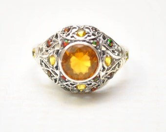 Sterling Silver Antique Style Art Deco Citrine Fire Opal Ring Sz 7  #7918