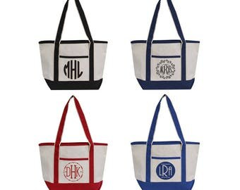 Cotton Canvas Tote Bag in 4 colors - SHIPS FREE! Black, Navy, Red, Royal, Blank, Monogram, Wedding Gift, Bridal Shower, Bridal Party Gift