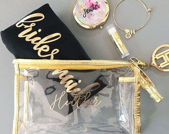 Cosmetic Bag - Gold Make up Bag - Makeup Bag - Personalized Cosmetic Bag - Bridesmaid Gift - Maid of Honor Gift - Matron of Honor  EB3167