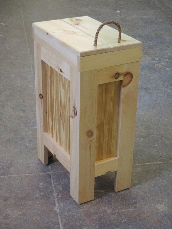 Wood trash can wood trash bin kitchen garbage can 13 - Wooden kitchen trash can with lid ...