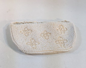 Vintage Debbie by John Winds Imports Purse Evening Clutch With White Beads