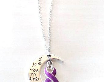 Purple Awareness I Love You To the Moon and Back Necklace You Select Chain Material and Length