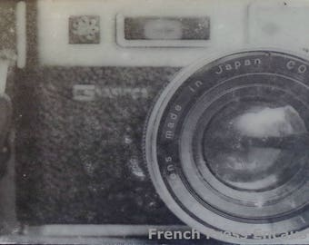 Encaustic Art, Photo Encaustic, Vintage Camera Small Art Black and White Gift Idea for Photographers