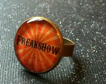 FREAKSHOW Ring | Freak Show Bronze Adjustable Ring | Sideshow Freak Jewelry | Creepy Carnival Horror Alternative Alt Gothic Nu Goth Ring