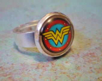 Wonder Woman Adjustable Ring, Wonder Woman Silver Ring, Wonder Woman Jewelry, Justice League Ring, Superhero Adjustable ring, Retro ww ring