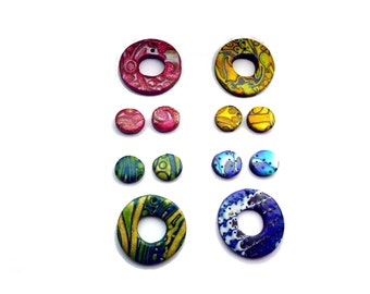 Lot of 12 Multi-colored Component Beads- Abstract Patterned