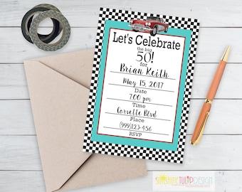 Printable 50th Fast Cars Birthday Invitation, Printable 50th Birthday Invitation, Fill in the Blank Invitation by SUNSHINETULIPDESIGN