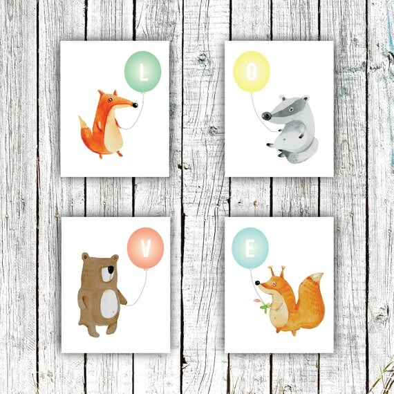 Nursery Art Printables, Woodland Nursery, Animals, Love, Balloons, Digital File Set of 4 8x10s #632