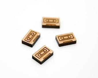 Laser Cut Wood Shape | Wood Cabochons | Wood Earring Supplies | Mini Wood Shapes | Cassette Tape | 15x10mm | SHL023