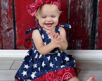 Red White Blue Dress, Patriotic Sun Dress, Fourth of July Dress, Parade Dress, Patriotic Outfit, Sundress, Summer Sun Dress, Memorial Day