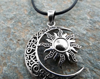 Sun and Moon Pendant Silver Handmade Necklace Sterling 925 Symbol Luna Jewelry