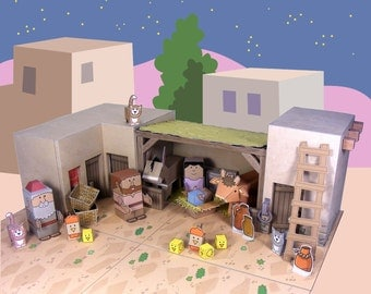 Bible MiniWorld Paper Toys – Jesus is born - Cut, assemble and play. Instant Download
