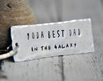 Dad Keychain - Hand Stamped Keychain - Best Dad in the Galaxy - Dad Gift - Gift for Him - Dad Key Chain - Fathers Day - Best Dad Keychain