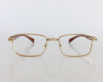 Pol Gaspard Eyewear, Model 210, Gold / Gunmetal & wood glasses, Brown bamboo temple arms, Vintage dead stock eyeglasses, Made in France