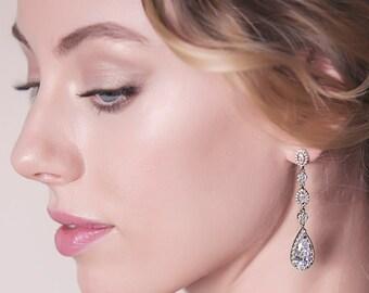 Teardrop Bridal Earrings Swarovski Crystal Long Drops Silver Dangle Earrings Bridal White Gold Wedding Jewelry Earrings Gifts for Her E146-S