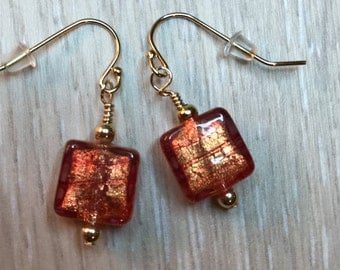 Venetian Glass earrings in clear pink with stripes and 24K gold foil