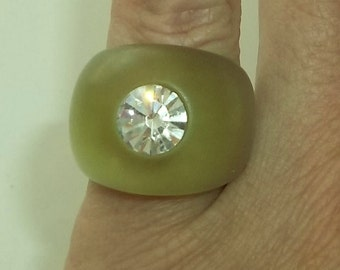 Vintage 70's  Green Lucite  rhinestone Dome Ring