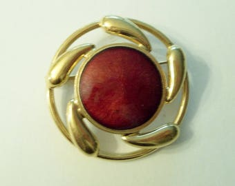 RED Gold  Enamel Circle Pendant Brooch