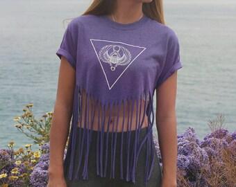 Egyptian Scarab Beetle Fringe Crop Top // Rave Crop Top - Festival Clothing - Festival Top  // Boho Tops - Bohemian Clothing - Fringe Shirt