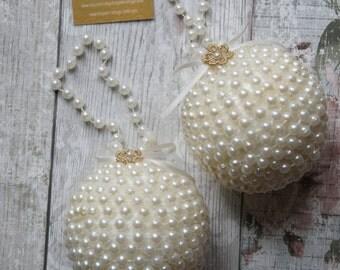 Flower girl pearl pomander, decoration, kissing ball, home,wedding,flower girls, christening, pearly pomander