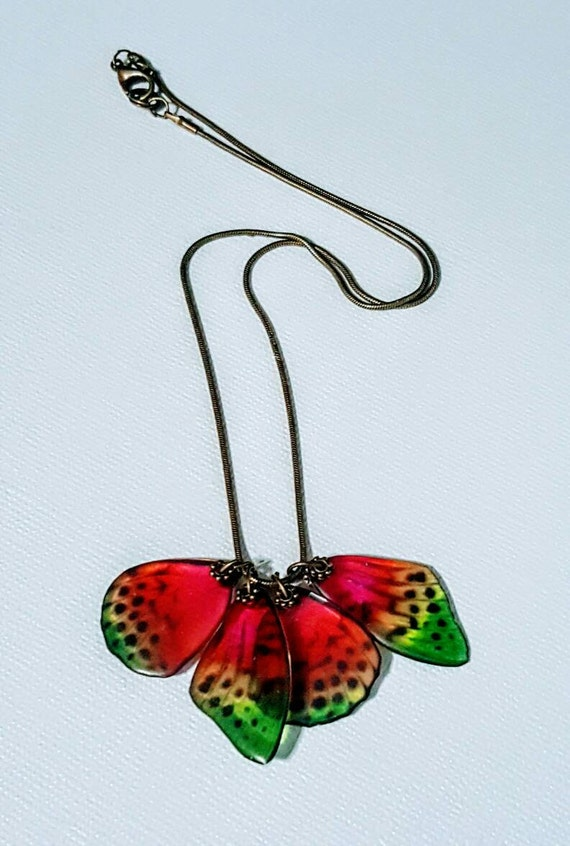 Spotted Rainbow Moth Wings - Necklace