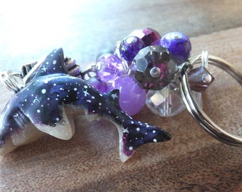 Purple Galaxy Shark Keychain made from polymer clay - clear - stars - nebula - bead cluster.