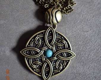 Amulet of Mara Skyrim Necklace w/ Turquoise Stone. Bronze Wedding Engagement Jewelry Skyrim Cosplay Chain Necklace Handmade Talos Soul Gems