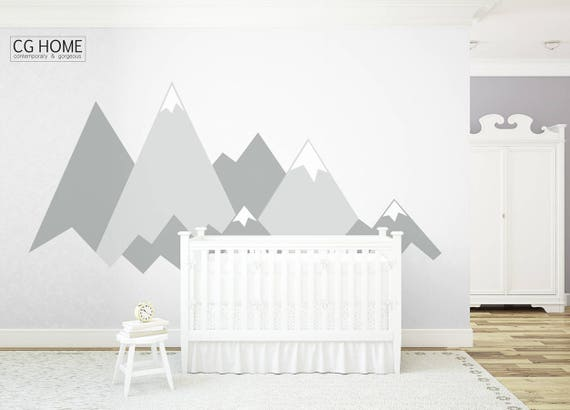 MOUNTAIN Wall Decal Crib Mountains Covering Wall Protection Customized Personalized Washable Decoration Headboard Sticker Nursery