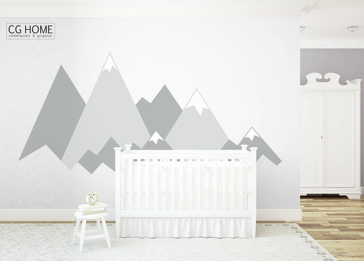 Mountain wall decal crib mountains covering wall protection mountain wall decal crib mountains covering wall protection customized personalized washable decoration headboard sticker nursery amipublicfo Choice Image