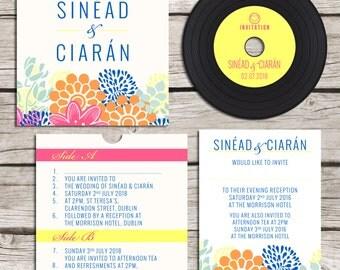 Colourful Flowery CD 'Vinyl' Wedding Invitation