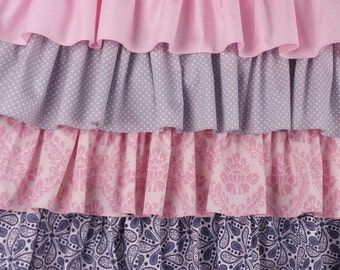 Crib Skirt Ruffle Four Tier, pink gray navy Baby Bedding, Made to order