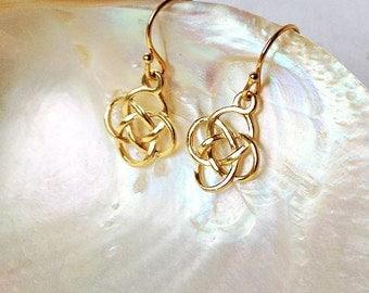 Gold charm pattern earrings, Irish earrings, geometric twist earrings, dainty gold vermeil earrings, Welsh symbol jewelry, gift for her
