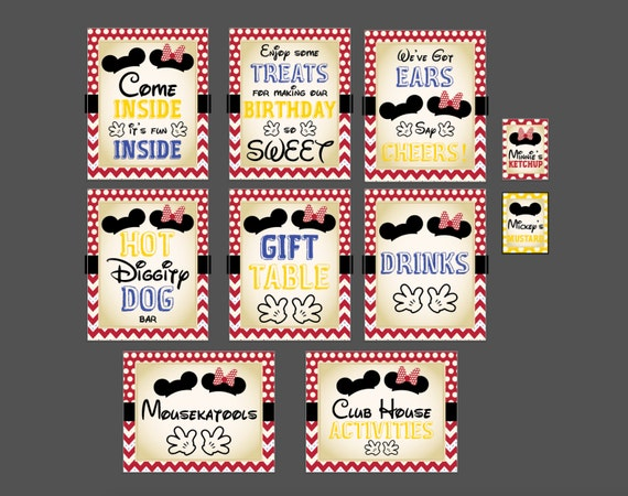 Classic Mickey Mouse or Minnie Mouse Birthday Party Kit (DIGITAL COPY)- 10 files included