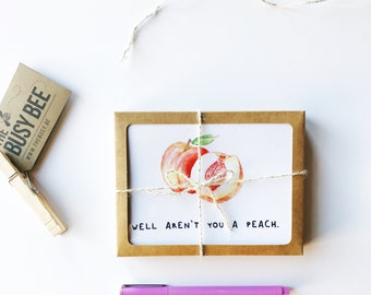 Just Because Cards // Boxed Card Set // You're A Peach // Thank You Card Set // Thank You Notes // Cute Thank You  // The Busy Bee