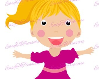 Digital Download Clipart – Blonde Girl with Pony Tail JPEG and PNG files